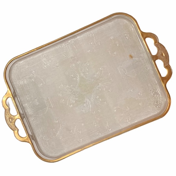 VTG Jeanette Glass Harp & Scroll Gilt Gold Tray